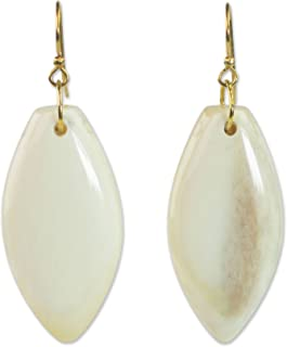 Brass and Cow Bone Dangle Earrings 'Natural Path'