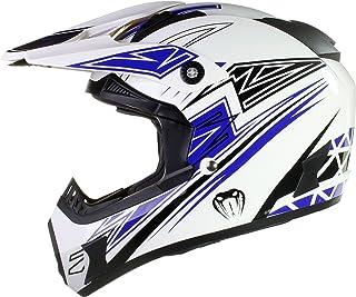 Qtech Viper - Motocross-Helm - für Offroad/Enduro - Schwarz/Rot/Orange/Blau - Blau - XL 61-62 cm