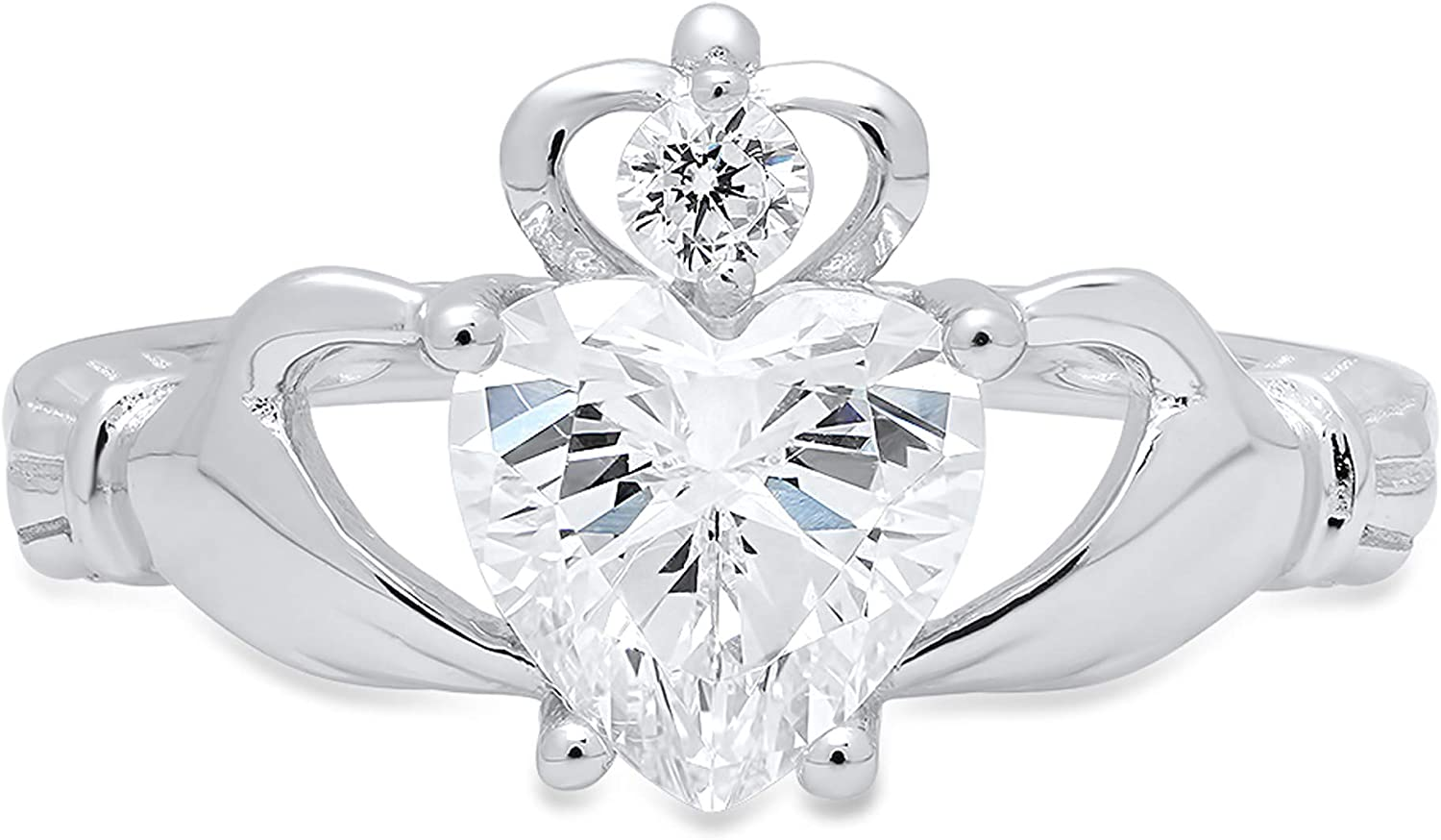 1.52ct Heart Cut Irish Celtic Claddagh Solitaire Accent Genuine Moissanite Ideal VVS1 D & Simulated Diamond Designer Modern Statement Ring Solid 14k White Gold