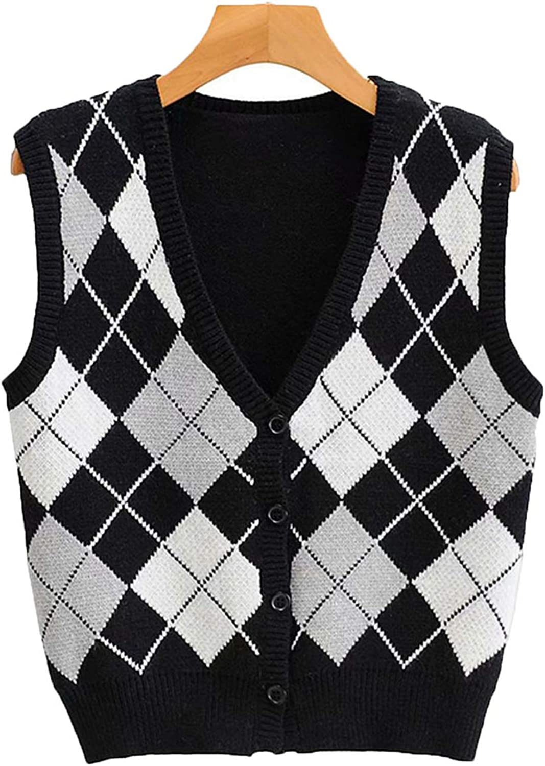 Plaid Knitted Button Sweater Vest Female Style Y2K Clothes V Neck Casual 90s Knitwear