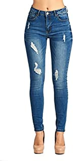 Women s High Waisted Butt Lift Stretch Ripped Skinny Jeans Distressed Denim  Pants 902c3f8d6