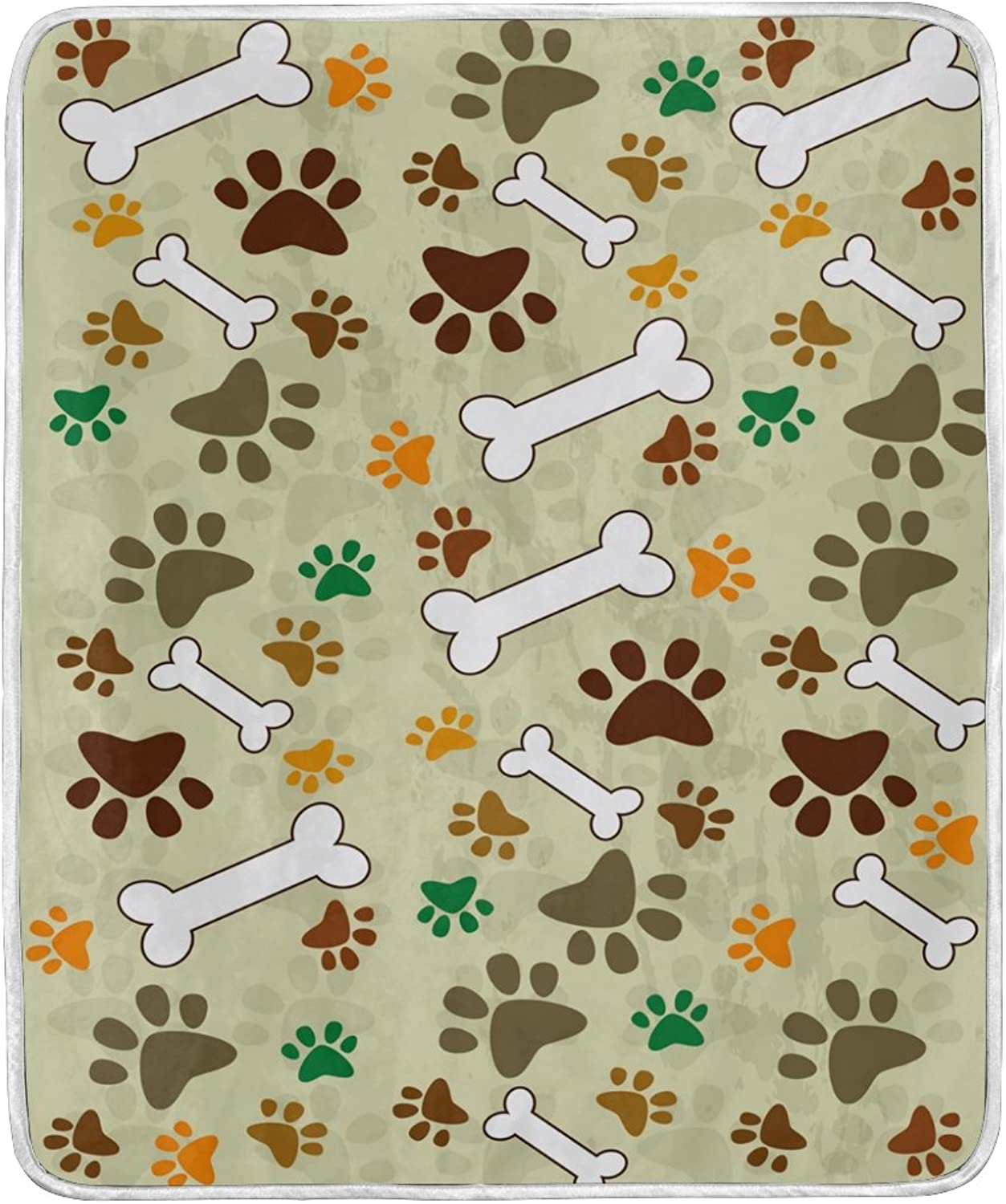 ALAZA Home Decor Vintage Dog Paw Print Bone Blanket Soft Warm Blankets for Bed Couch Sofa Lightweight Travelling Camping 60 x 50 inch Throw Size for Kids Boys Women