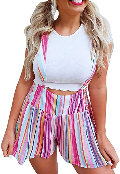 TOTOD Jumpsuits For Women Casual Trousers Overalls Multicolour Stripe Bib Pant Romper Shorts