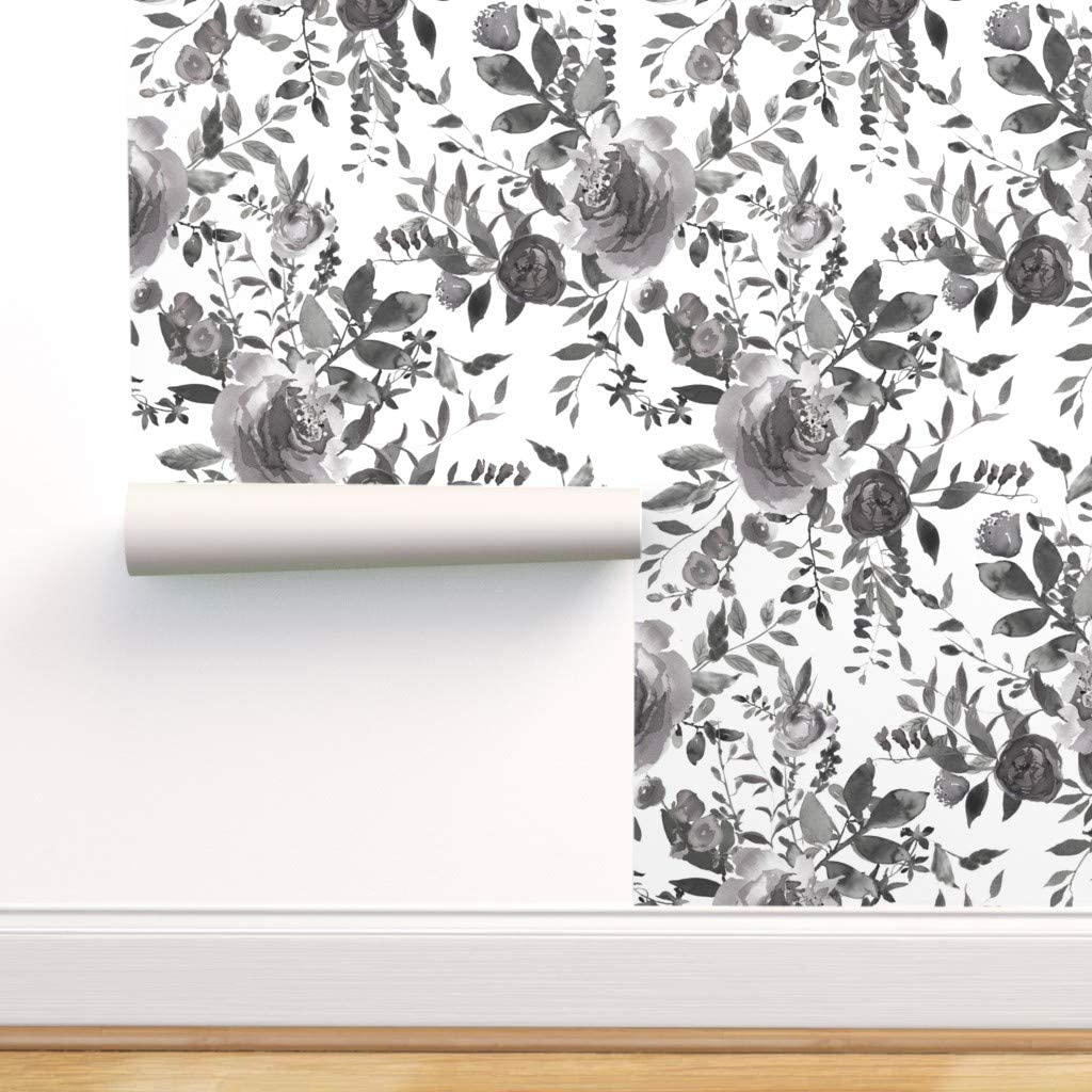 Removable Water-Activated Wallpaper 毎日がバーゲンセール - Black 本店 and Floral Cot White