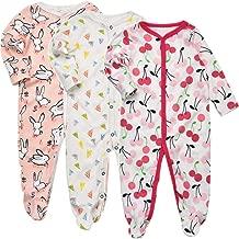 Exemaba Baby Footed Pajamas Sleeper - 3 Packs Infant Girls Boys Cotton Long Sleeve Jumpsuit Newborn Romper Bodysuit Sleepwear