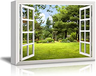 Print Window Frame Style Beautiful Garden Backyard with Green Trees and Clear Blue Sky in Spring Gallery Stretched - Canvas Art Wall Decor - 24