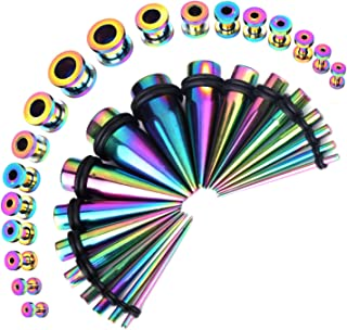 BodyJ4You 36PC Gauges Kit Ear Stretching 14G-00G Surgical Steel Taper Screw Fit Tunnel Plug Jewelry