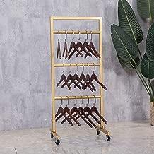 FURVOKIA Modern Simple Heavy Duty Metal Rolling Hanger Storage Rack with Wheel,Retail Display Iron Floor-Standing Towel Pants Scarf Organizer Shelves (Gold, 3 Tier)