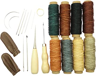 MagiDeal 22 Pieces Leather Craft Hand Stitching Sewing Tools Awl Waxed Thread Thimble Kit