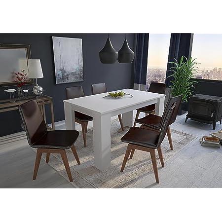 Skraut Home : Table de salle à manger et séjour, de 140 cm rectangulaire, blanc mat, 80x138x75cm Jusqu'à 6 personnes