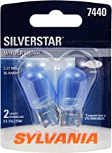 SYLVANIA - 7440 SilverStar Mini Bulb - Brighter and Whiter Light, Ideal for Daytime Running Lights (DRL) and Back-Up/Reverse Lights (Contains 2 Bulbs)