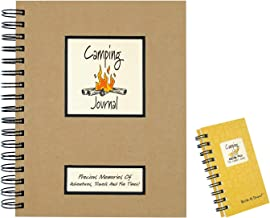 2 Camping Journal Set | Use as Campers Vacation Planner, RV Travel Diary, Road Trip Log Book | 1 Full size (200 Pages) and 1 Mini (120 Pages) Spiral Journals with Prompts