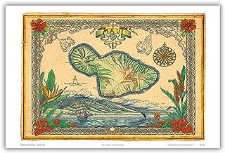 Map of Maui Hawai'i - Hawaiian Islands Map - Maui No Ka 'Oi (Maui is The Best) - Vintage Hawaiian Colored Cartographic Map by Steve Strickland - Hawaiian Master Art Print - 12 x 18in