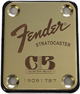 Fender Stratocaster Neck Plate with Custom Built logo - Gold