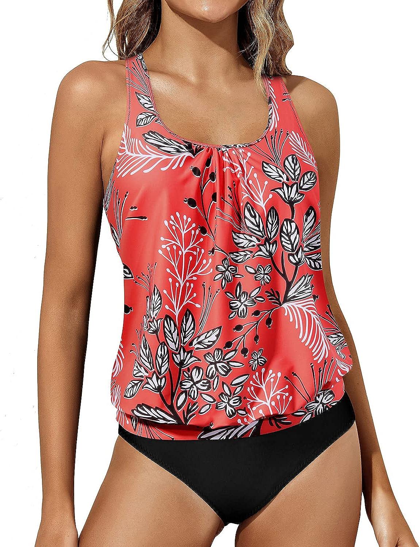 Yonique Blouson Tankini Swimsuits for Women Racerback Tank Tops Athletic Bathing Suits 2 Piece Loose Swimwear