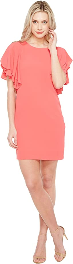 Sleeveless Sheath Dress w/ Cascading Ruffles