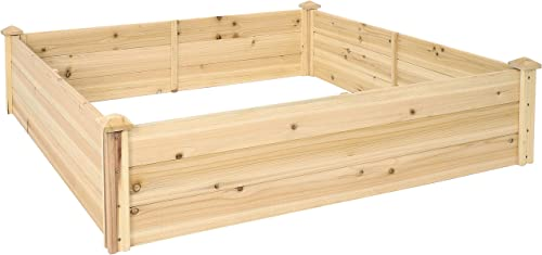 discount Sunnydaze Outdoor outlet sale Square lowest Wood Raised Garden Bed - 48-Inch Square - Elevated Planter Box for Flower, Vegetable, and Herb Gardening - Perfect for Garden or Yard outlet online sale