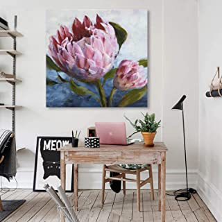 Fox Art Canvas Print Wall Art Coral Pink Tropical Flower Oil Painting Hand Painted Giclee on Modern Canvas Print Living Room Bedroom Stretched and Framed Ready to Hang 24x24Inch