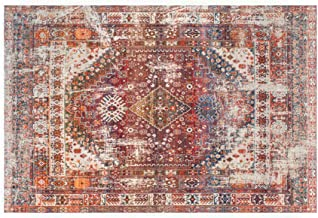 Traditional Vintage Oriental Area Rug, Red, Floor Carpet for Living Room Bedroom Easy Clean (60 x 90cm)