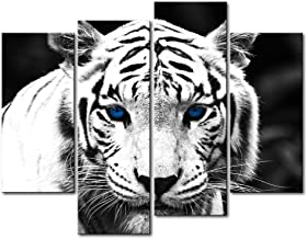 Black & White 4 Panel Wall Art Painting Blue Eyed Tiger Prints On Canvas The Picture Animal Pictures Oil for Home Modern Decoration Print Decor for Kitchen