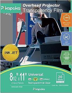8.5x11 OHP Film, Semi Transparency, Overhead Projector Film for Inkjet printer Copier, 100mic, 20 Sheets, Single Side Coat...