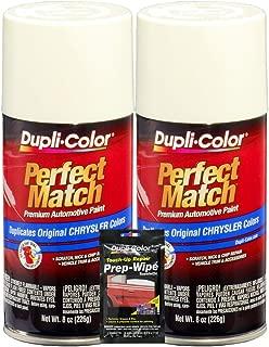 Dupli-Color Stone White Perfect Match Automotive Paint for Chrysler Vehicles - 8 oz, Bundles with Prep Wipe (3 Items)