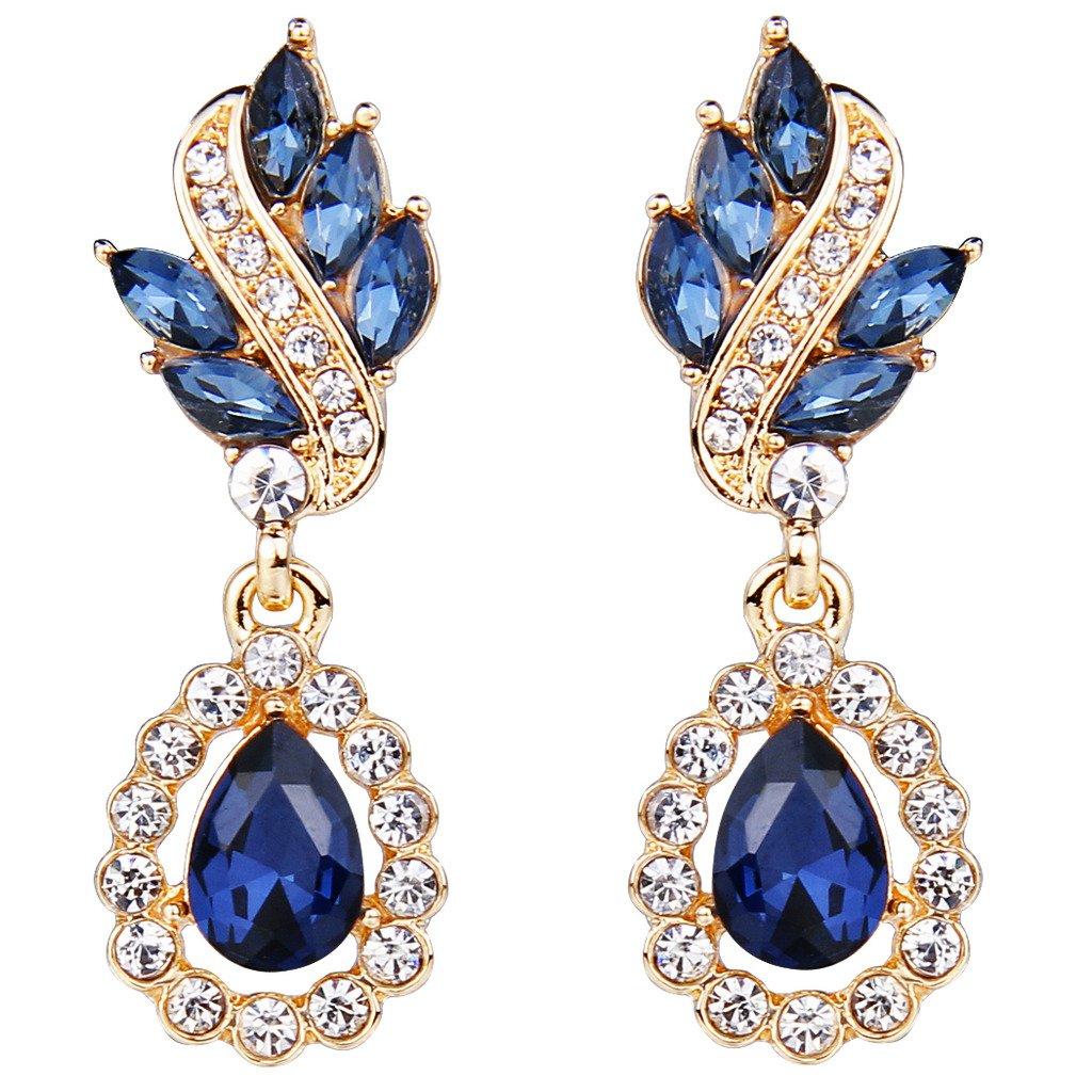 Women's Austrian Crystal Art Deco Tear Drop Dangle Earrings Pierced