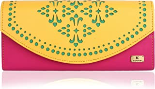 K London Stylish Women's Clutch Purse Women Wallet (Yellow,Pink,Green) (1602_Yellow)