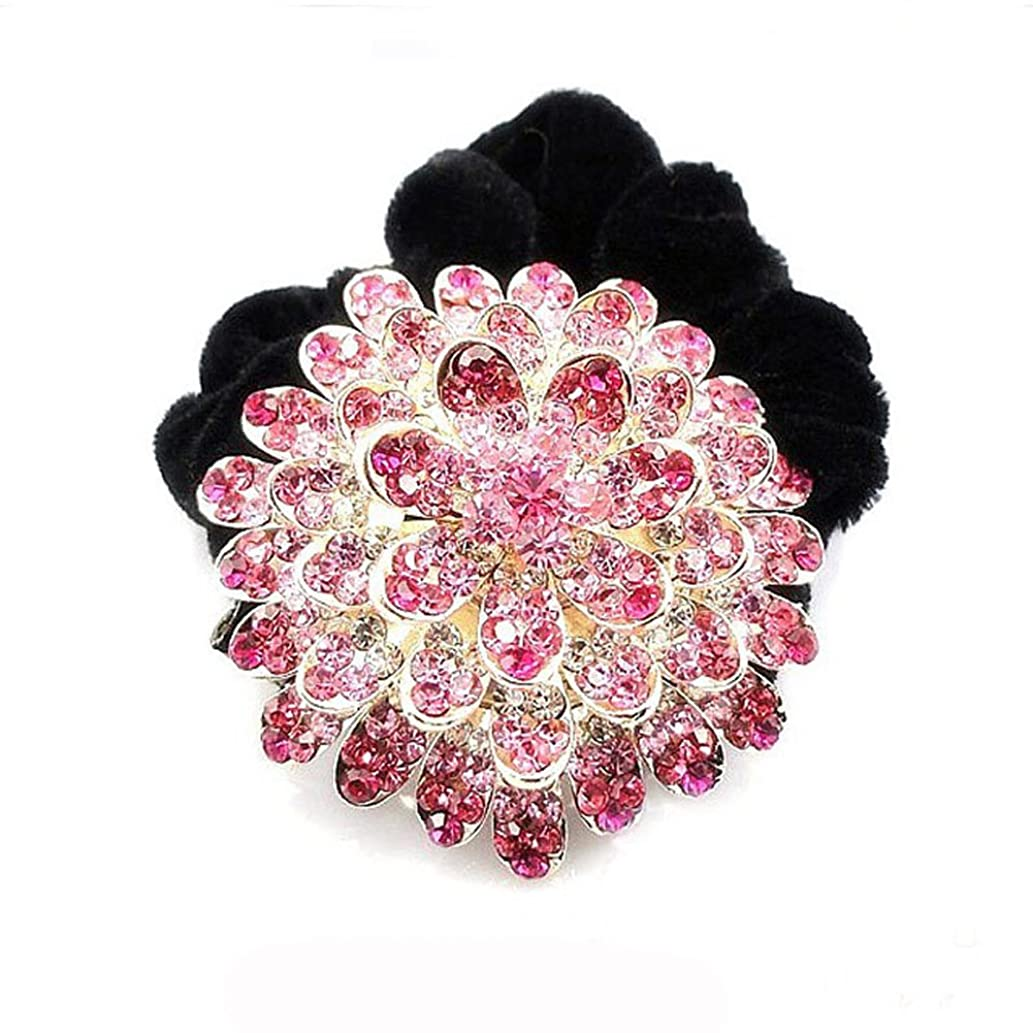 広々とした作成する旋律的高品位ベルベットリングクリスタルダイヤモンドヘアアクセサリー - ピンク