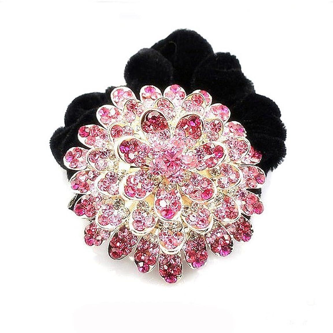 楽しむトチの実の木マルクス主義者高品位ベルベットリングクリスタルダイヤモンドヘアアクセサリー - ピンク