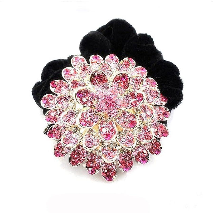 逃げるクレーン曲高品位ベルベットリングクリスタルダイヤモンドヘアアクセサリー - ピンク