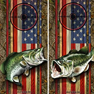 Speed Demon Hot Rod Shop Cornhole Board Wraps ~ American Flag and Camo with Large Mouth Bass Fish Corn Hole Boards Laminated Decal Wraps (Set of 2) #03/01