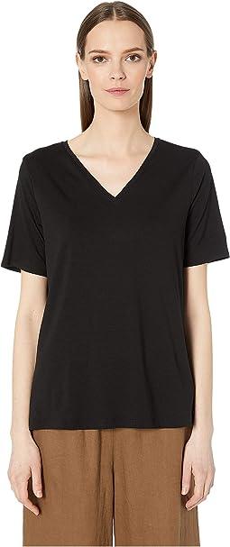 551b42f00e854 Eileen Fisher. Tencel Jersey V-Neck Short Sleeve Top.  128.00. New. Black. 3