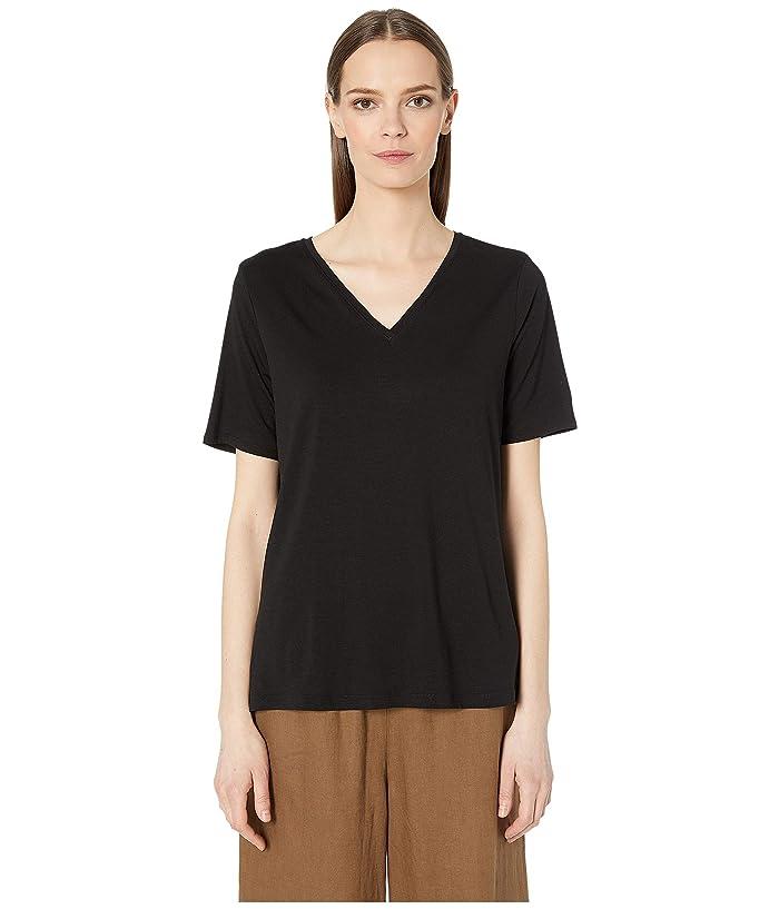 Eileen Fisher Tencel Jersey V-Neck Short Sleeve Top (Black) Women's T Shirt