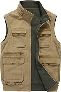 Mens Vest Double Sided Multifunction Stand Collar Outerwear Sleeveless Jacket Military Outdoor Work Vests for Work Fishing...