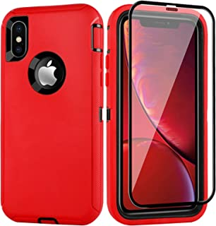 BMBZON iPhone X/Xs Case with Tempered Glass, Military Grade Rugged Heavy Duty Full Body Protection Cover Armor Anti-Scratch Shockproof Protective Case, 5.8'' (Red+Black, No Belt Clip)
