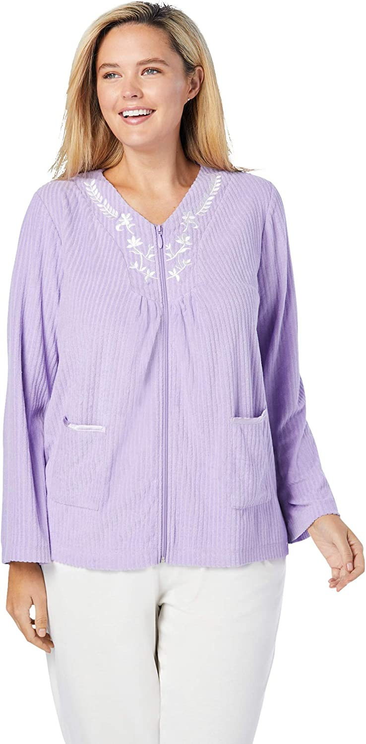 Dreams & Co. Women's Plus Size Embroidered Terry Bed Jacket