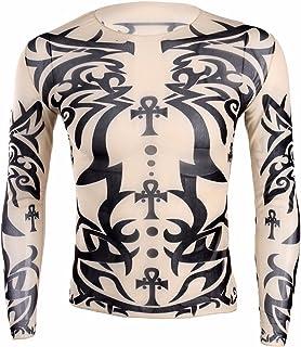 (フィーショー)FEESHOW ロングTシャツ メンズ タトゥーTシャツ 長袖 シャツ 刺青 メンズ ガッコいい 日焼け止め メンズ ロンT