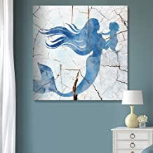 wall26 - Square Blue Mermaid Wood Effect Gallery - Canvas Art Wall Decor-12 x12