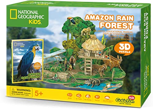 popular CubicFun National Geographic 3D Kids Puzzles Model Kits outlet online sale Toys with Booklet for online Children Teens and Adults, Amazon Rain Forest kit, DS0979h online