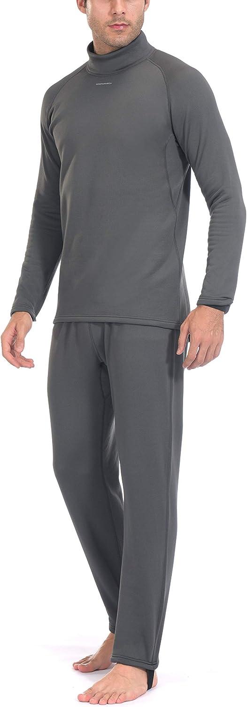 Dasawamedh Men's Fleece Thermal Underwear Set Lightweight Warm Base Layers for Hiking Skiing Diving