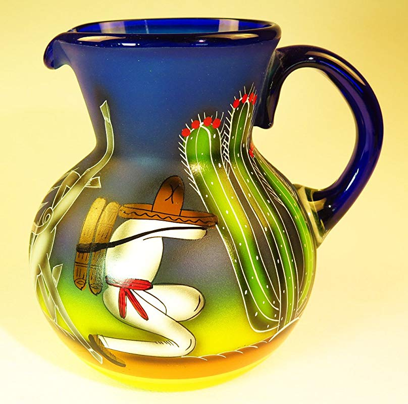 Mexican Glass Margarita Or Ice Tea Pitcher Hand Painted With Poncho Agave And Saguaro Cactus