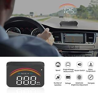 iKiKin Car HUD with GPS OBD2 Dual Interfaces Head Up Display Universal Digital Speedometer KMH/MPH Windshield Car Projecto...