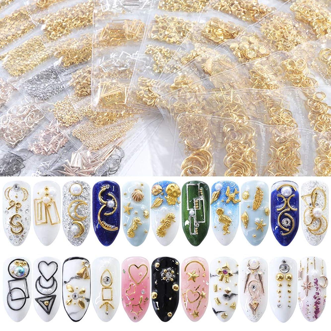 状繕うコメントHuangHM 48種類 ミックス DIY 3Dメタルスタッズ ゴールド シルバー セリフネイルアートデコレーションパーツ 可愛いプレゼント クリスマスアクセサリー 彼女 マニキュアデザインセット