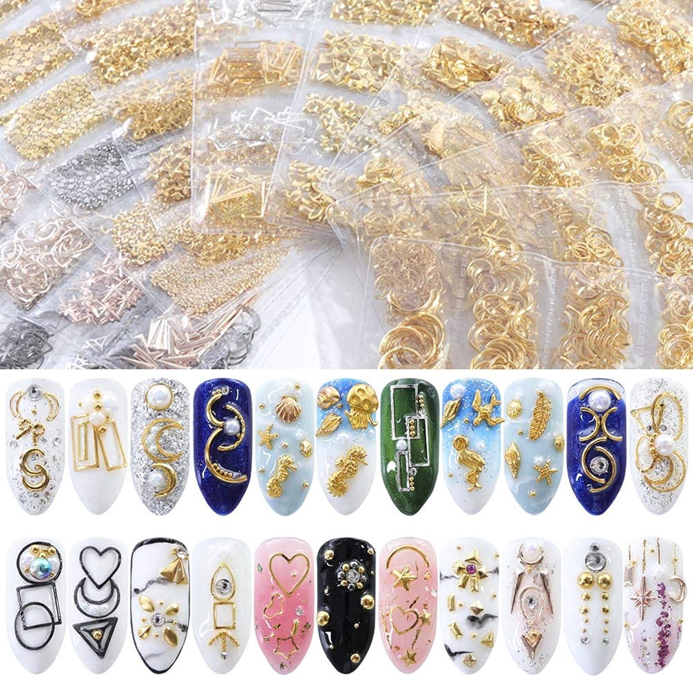 はちみつ最愛の収穫HuangHM 48種類 ミックス DIY 3Dメタルスタッズ ゴールド シルバー セリフネイルアートデコレーションパーツ 可愛いプレゼント クリスマスアクセサリー 彼女 マニキュアデザインセット