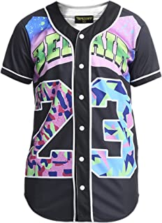 PIZOFF Unisex Arc Bottom 3D Print Baseball Team Jersey Shirt
