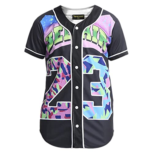 27ce9bd8633 PIZOFF Unisex Arc Bottom 3D Print Baseball Team Jersey Shirt