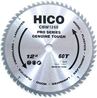 HICO 12-Inch 60-Tooth ATB Miter Saw Blade Thin Kerf General Purpose Circular Saw Blade with 1-Inch Arbor for Softwood Hardwood Plywood