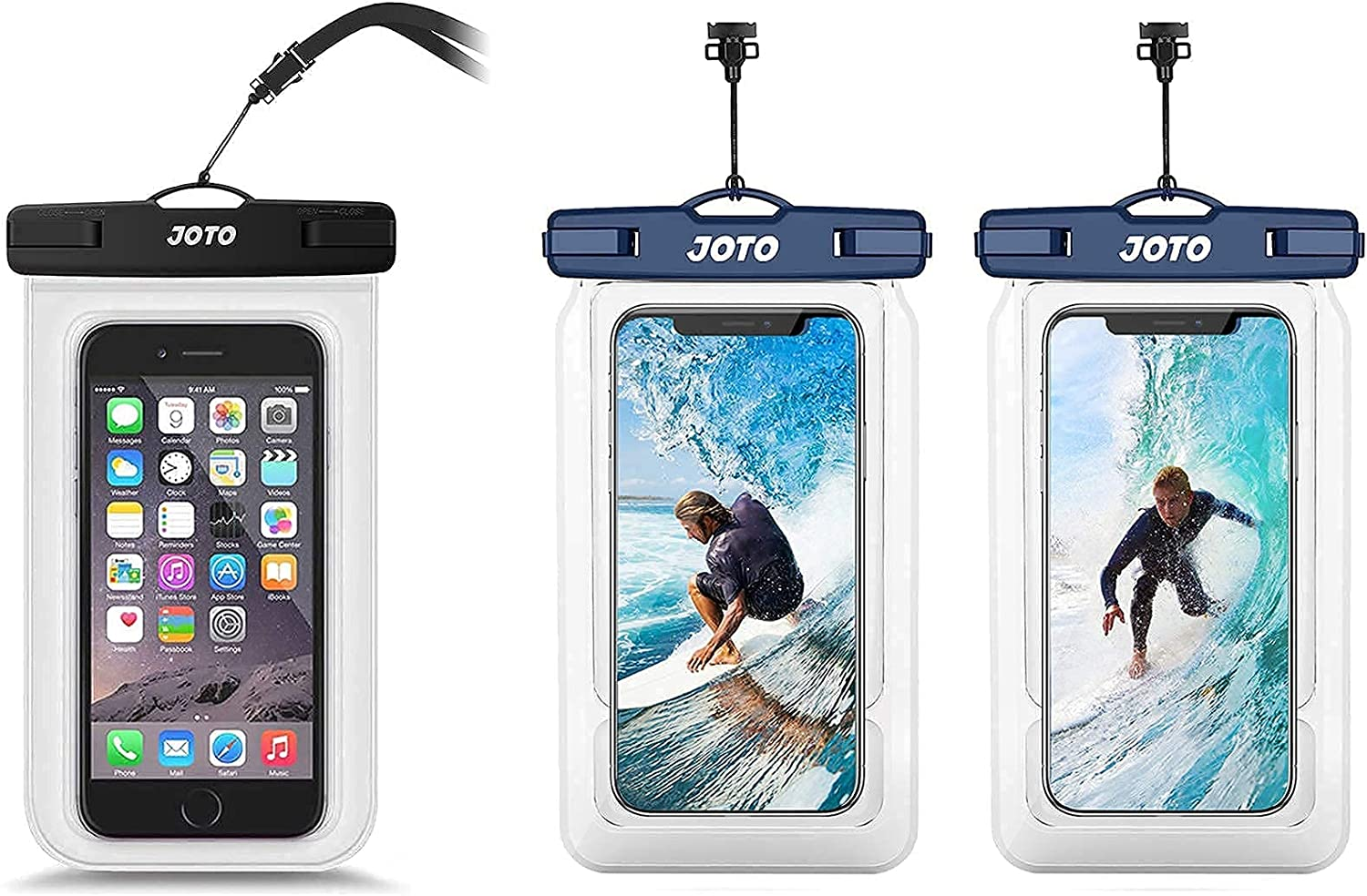 JOTO Universal Waterproof Pouch Cellphone Dry Bag Case Bundle with 【2 Pack】 JOTO Universal Floating Waterproof Phone Pouch