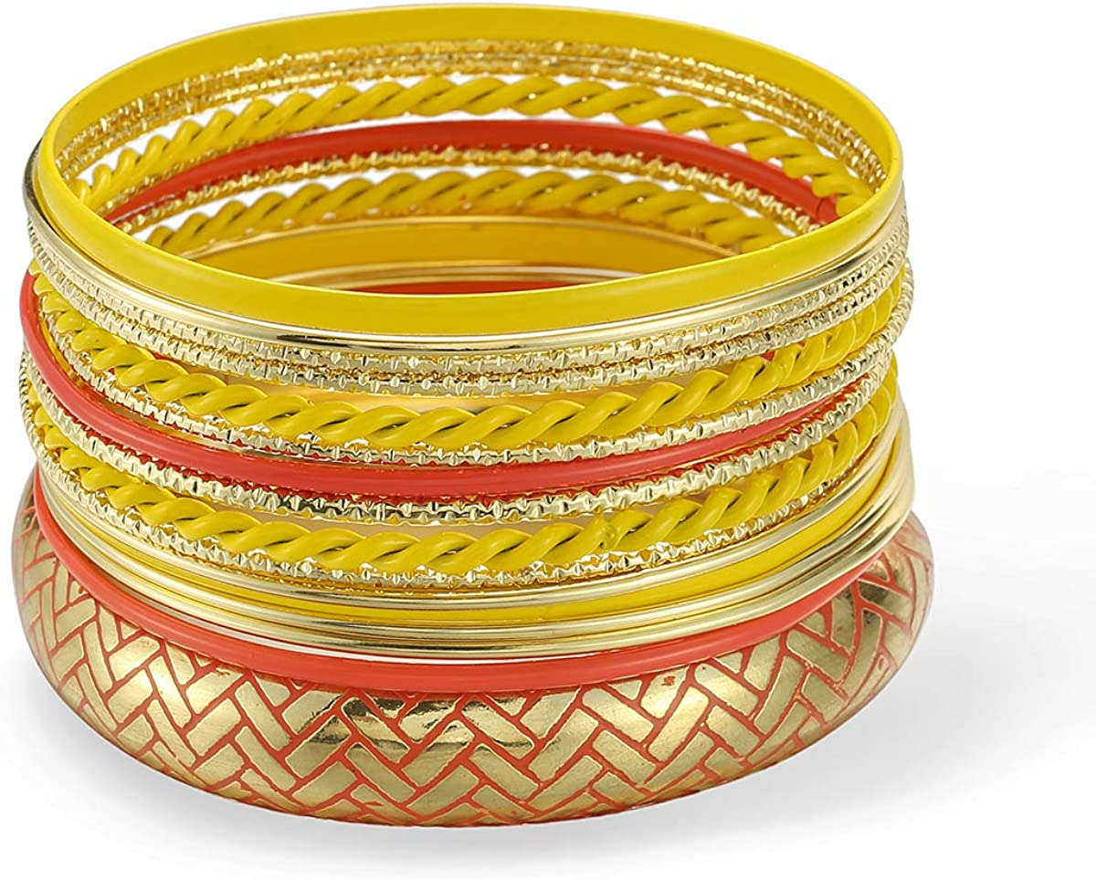 ENSOUL Mixed Multi Metal African Indian Bangles Bracelets Set Jewelry for Women